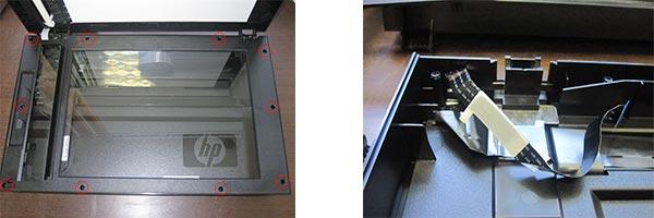 Демонтаж стекла сканера HP M175